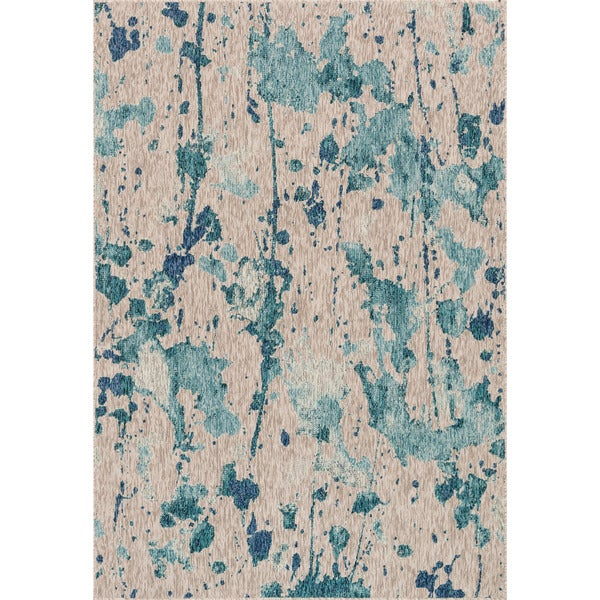 "Indoor/ Outdoor Hudson Aqua/ Grey Rug (7'10 x 10'9) - 7'10"" x 10'9"""