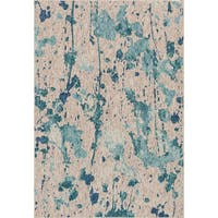 Indoor/ Outdoor Hudson Aqua/ Grey Rug - 7'10 x 10'9