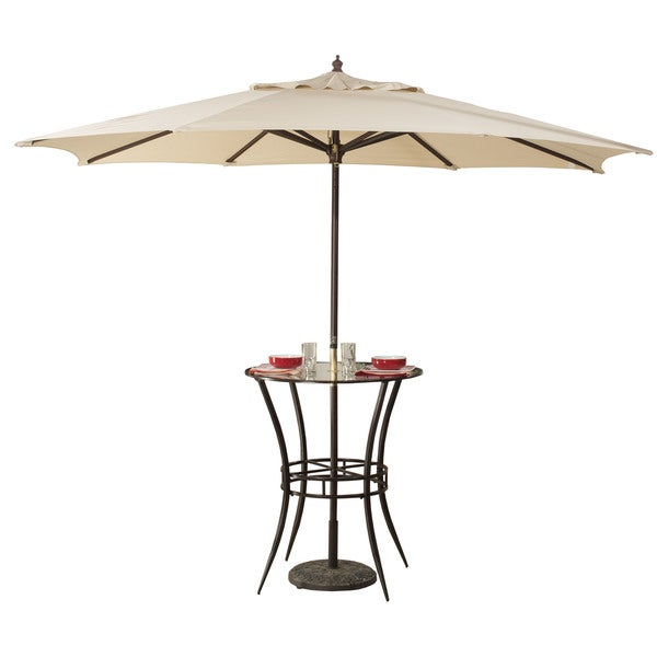 Hillsdale Black Metal And Glass Indoor/Outdoor Bar Height Bistro Table