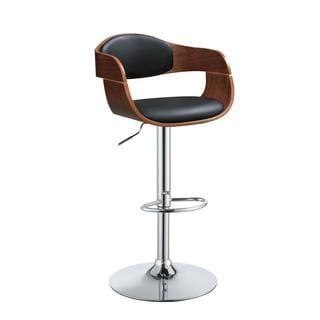 Acme Furniture Cameo Black Faux Leather, Wood, and Chrome Adjustable Swivel Stool