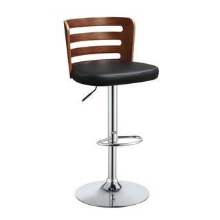 Acme Furniture Camila Black/Walnut-finish Faux Leather/Wood/Chrome Adjustable Swivel Stool