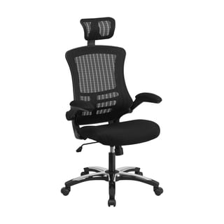 Offex High Back Black Mesh Executive Swivel Office Chair with Flip-Up Arms and Chrome-Nylon Designer Base