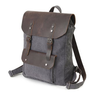 InFurniture Retro 16 ounce Grey Washed Canvas 17-inch Laptop Backpack