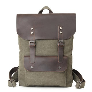 Infurniture Retro 16 ounce Olive Washed Canvas 17-inch Laptop Backpack