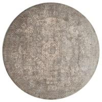 "Traditional Grey/ Sage Medallion Distressed Round Rug - 7'10"" x 7'10"""