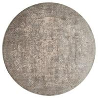 Traditional Grey/ Sage Medallion Distressed Round Rug - 7'10 x 7'10