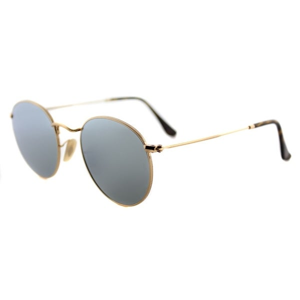 1275062da84 Shop Ray-Ban RB 3447N 001/30 Round Metal Shiny Gold Grey Flat Flash ...