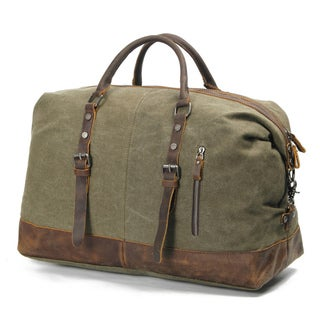 Infurniture Retro 16 ounce Olive Washed Canvas Travel Duffel Bag
