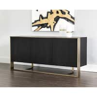 Sunpan Dalton Black Wood Antique Brass Sideboard