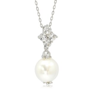Suzy Levian Sterling Silver Pearl & White Sapphire Cluster Pendant