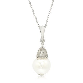 Suzy Levian Sterling Silver Pearl & White Sapphire Crown Pendant