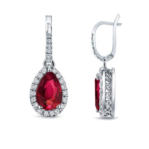 Auriya 2ct Pear Shaped Red Ruby Gemstone and 2/5ctw Halo Diamond Dangle Earrings 14k Gold