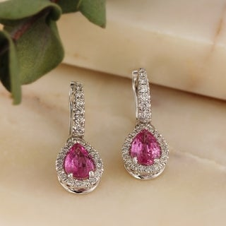 Auriya 14k Gold 2ct Pear Shaped Pink Sapphire and Diamond Halo Lever Back Dangle Earrings
