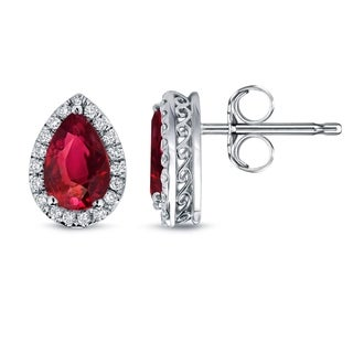 Auriya 14k Gold 2ct Pear Shaped  Red Ruby and Diamond Halo Studs Earrings
