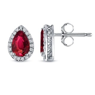 14k Gold 2ct Pear Shaped Red Ruby and 1/3ct TDW Diamond Halo Stud Earrings by Auriya