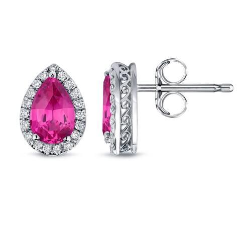 Auriya 2ct Pear Shaped Pink Sapphire Gemstone and 1/3ctw Halo Diamond Stud Earrings 14k Gold