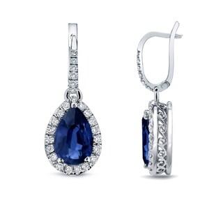 14k Gold 2ct Pear Shaped Blue Sapphire and 2/5ct TDW Diamond Halo Dangle Earrings by Auriya