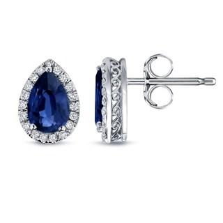 14k Gold 2ct Pear Shaped Blue Sapphire and 1/3ct TDW Diamond Halo Stud Earrings by Auriya