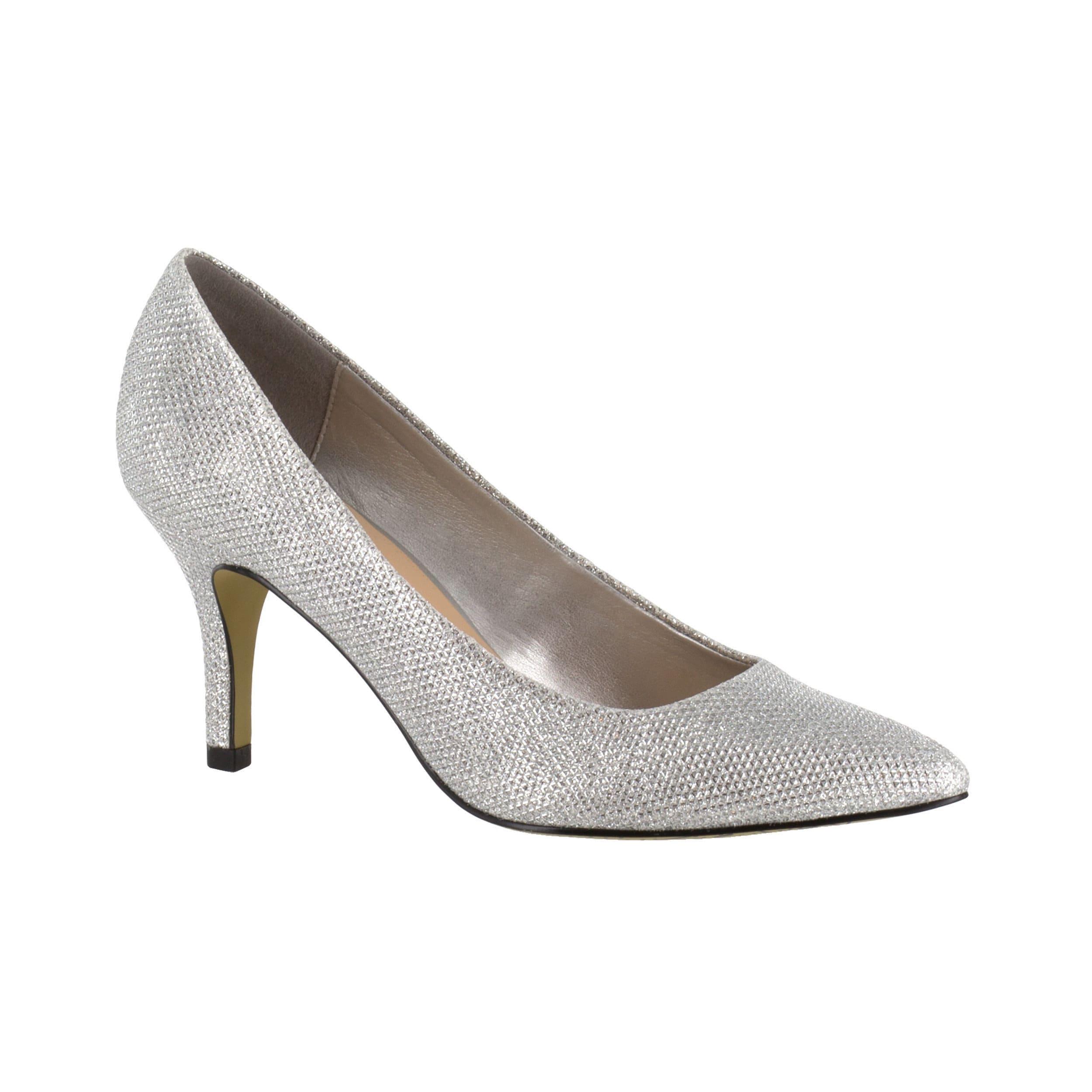 Bella Vita Women S Define Ii Silver Glitter Low Heel Pump