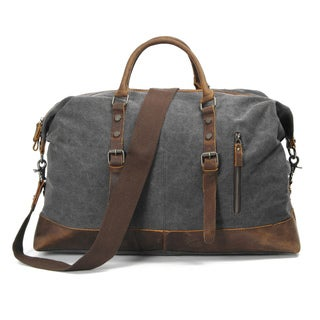 Infurniture Retro 16 ounce Grey Washed Canvas Travel Duffel Bag
