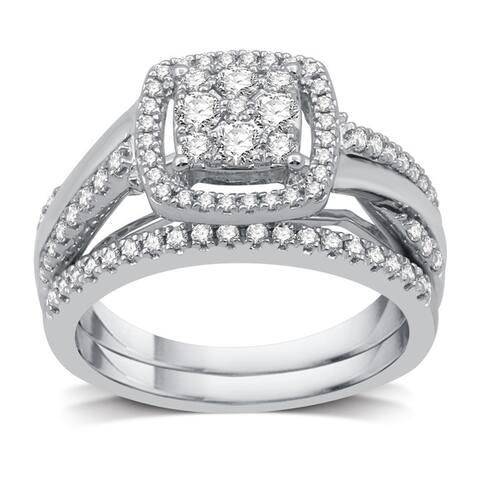 3/4 CTTW Diamond Composite Twist Shank Bridal Set in Sterling Silver (I-J, I3) - White I-J