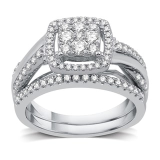 3 4 CTTW Diamond Composite Twist Shank Bridal Set In Sterling Silver I J I3 White I J