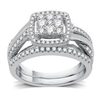 3/4 CTTW Diamond Composite Twist Shank Bridal Set in Sterling Silver (I-J, I3) - White I-J
