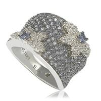Suzy Levian Sapphire & Diamond Accent Sterling Silver Floral Ring - Blue