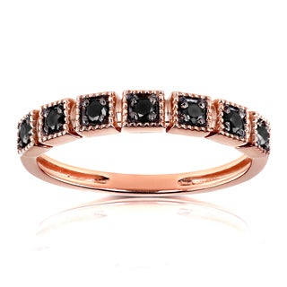 Annello by Kobelli 10k Rose Gold 1/6ct TDW Black Diamond Wedding Ring