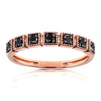 Annello by Kobelli 10k Rose Gold 1/6ct TDW Black Diamond Wedding Ring