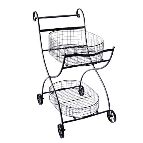 Black Metal Rolling Shopping Cart/ Stand