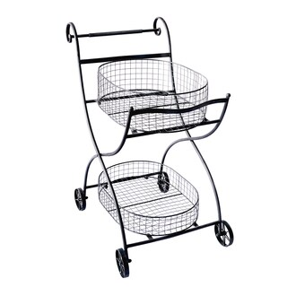 Black Metal Rolling Shopping Cart/ Stand