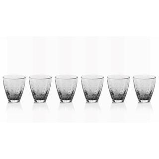 Zodax 6-Piece Bubbled Rocks Glass Set- Gray