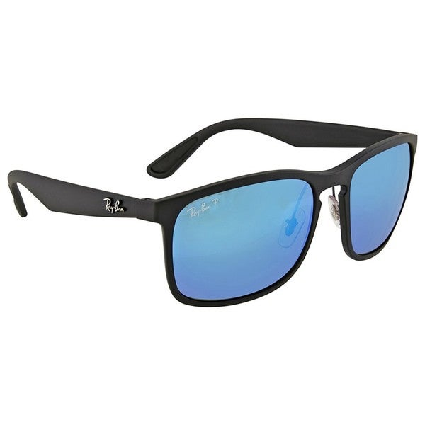 7f5f10777c4 ... discount code for ray ban rb 4264 601sa1 menx27s black polarized blue  mirror chromance sunglasses 04845