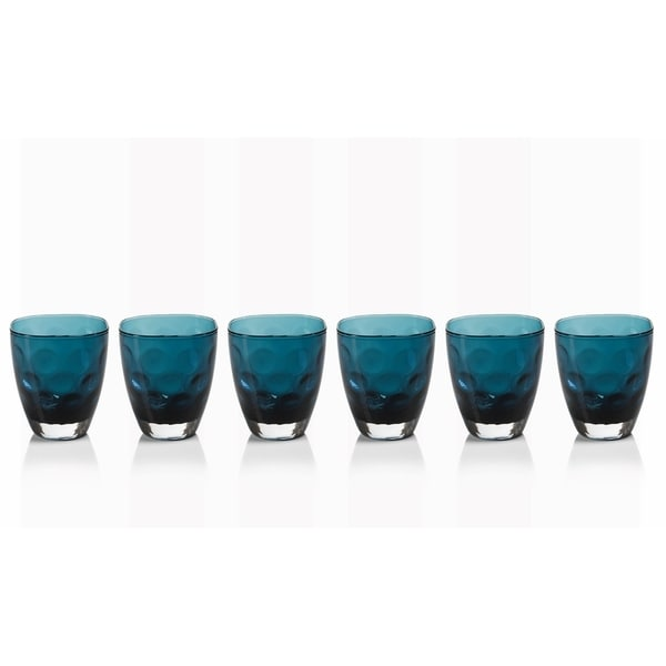 """Dimpled Glass"" Rock Glass, Midnight Blue (Set of 6)"
