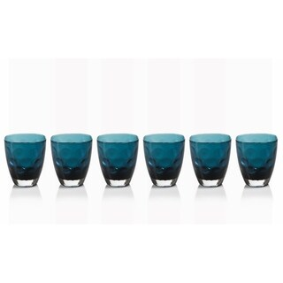 Rock Glass, Dimpled Design, Midnight Blue (Set of 6)