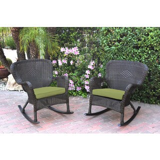 Jeco Windsor Espresso Resin Wicker Rocker Chair with Cushions (Set of 2)