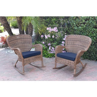 Jeco Windsor Honey Resin Wicker Rocker Chair with Cushions (Set of 2)