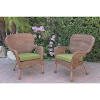 Jeco Windsor Honey Resin Wicker Chairs with Cushions (Set of 2)