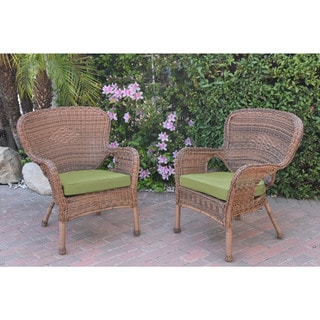Jeco Windsor Honey Resin Wicker Chairs With Cushions (Set Of 2) (Option: