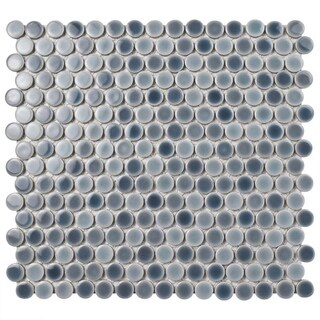 SomerTile 12x12.625-inch Penny Stillwater Porcelain Mosaic Floor and Wall Tile (10 tiles/10.2 sqft.)