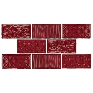 SomerTile 3x6-inch Antiguo Sensations Red Moon Ceramic Wall Tile (8/Pack, 1 sqft.)