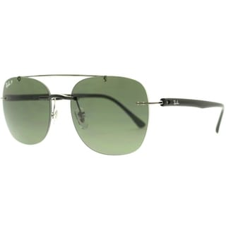 Ray Ban Black Frame Green Lens Polarized Aviator Sunglasses