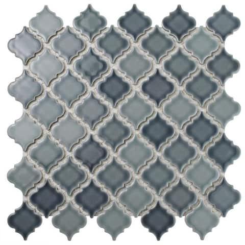 SomerTile 12.375x12.5-inch Antaeus Stillwater Porcelain Mosaic Floor and Wall Tile (10/Case, 10.7 sqft.)
