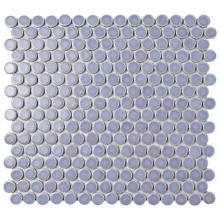 SomerTile 12x12.625-inch Penny Lavender Porcelain Mosaic Floor and Wall Tile (10 tiles/10.2 sqft.)
