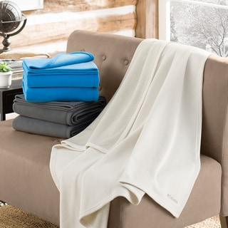 Columbia Sportswear Cozy Soft Fleece Throw Blanket with Thermal Coil Warm Body Heat Insulating Techn
