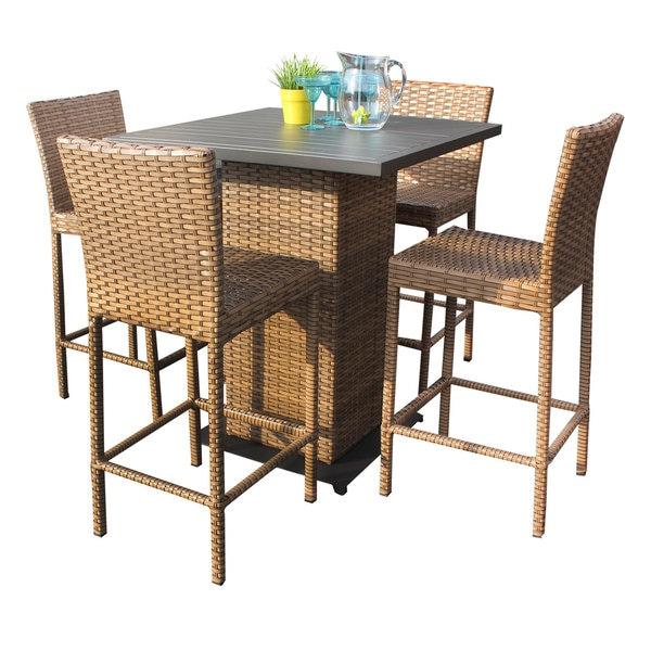 Bayou 5 Piece Outdoor Patio Wicker Pub Table Set with Barstools ...