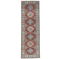 "Shahbanu Rugs Hand-Knotted Pure Wool Kazak Geometric Oriental Runner Rug (2'8""x8'4"")"