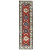 "Shahbanu Rugs Pure Wool Hand-Knotted Geometric Kazak Oriental Runner Rug (2'8""x9'7"")"