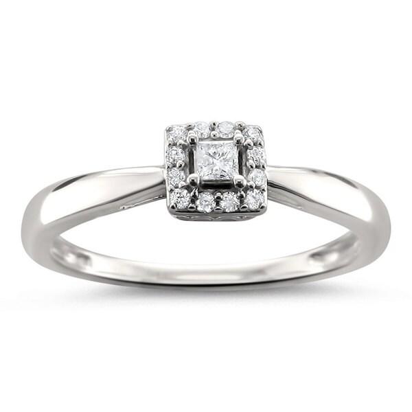 Montebello Jewelry 14k White Gold 1/8ct TDW Princess-cut Diamond Halo Engagement Ring (H-I, I1-I2)